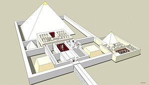 Drawing of a pyramid surrounded by a wall. A building with many rooms extends from one side of the pyramid, and at the opposite end of the building a causeway extends out of the frame.