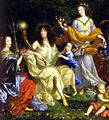 Queen Henriette Marie with her daughter, granddaughter and son in law from the Family of Louis XIV by Nocret.jpg