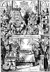 John Tenniel's illustration of the King and Queen of Hearts at the trial of the Knave of Hearts.