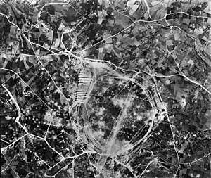 RAF Ta Kali -  Aerial imagery of RAF Ta Kali in 1942, showing extensive bomb crater damage and trackways to aircraft dispersals.