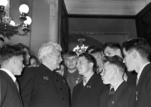 RIAN archive 706517 Komsomol members and youth meet with member of academy.jpg