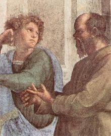 Sokrates im Gespräch mit dem jungen Xenophon. Detailansicht aus Raffaels Die Schule von Athen (1510–1511), Fresko in der Stanza della Segnatura (Vatikan) (Quelle: Wikimedia)