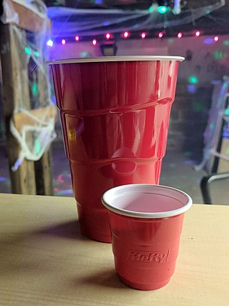 Beer pong - Red plastic cups are sometimes associated with drinking games