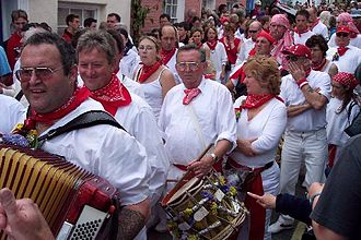 'Obby 'Oss festival - The Old 'Oss party attending the 'Obby 'Oss with dozens of accordions and drums.