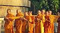 Religious Ceremony taking place at the Dhamek Stupa, Sarnath.jpg
