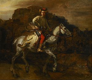 Lisowczycy - The Polish Rider by Rembrandt. A Lisowczyk may be the subject of one of the Dutch master's greatest works. Though the rider's identity is not known, one theory is that it is a portrait of Grand Chancellor of Lithuania Marcjan Aleksander Oginski, made in c.1655. It has little to do with the Lisowczycy, though much of the clothing and war gear would have been similar that worn by the real Lisowczyks of 30 years earlier.