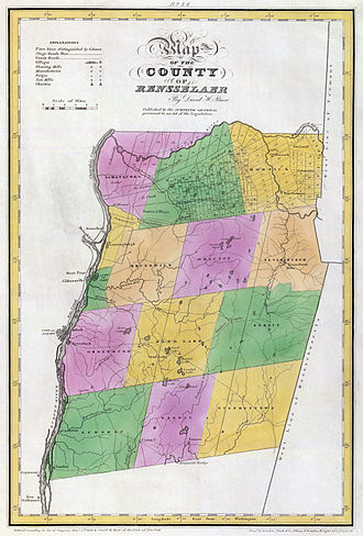 Rensselaer County, New York - Map of Rensselaer County in 1829