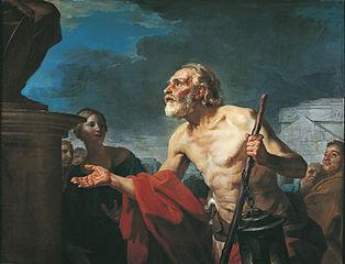Diogène demandant l'aumône aux statues