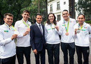 Mexico at the 2016 Summer Olympics - Left to right: diver Germán Sánchez, modern pentathlete Ismael Hernández, President Enrique Peña Nieto, taekwondo fighter María Espinoza, boxer Misael Rodríguez and race walker María Guadalupe González.