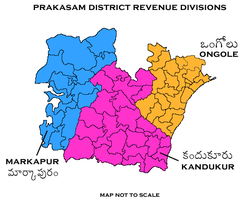 Revenue divisions map of Prakasam district