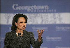"Rice unveils her plan for restructuring American foreign policy, which she calls ""Transformational Diplomacy,"" during a January 18, 2006 speech at Georgetown University"