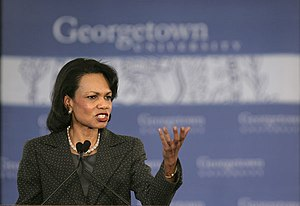 """Transformational Diplomacy - Rice unveils her plan for restructuring American foreign policy, which she calls """"Transformational Diplomacy,"""" during a January 18, 2006 speech at Georgetown University"""