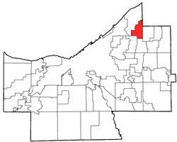 Location of Richmond Heights in Cuyahoga County