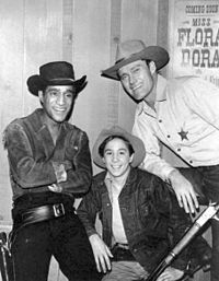 Sammy Davis, Jr., Johnny Crawford, and Chuck Connors in Western costume