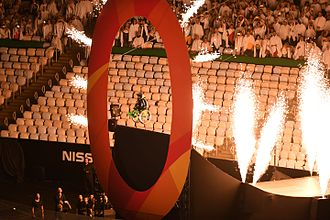 2016 Summer Paralympics opening ceremony - Aaron Fotheringham enters the stadium on a ramp.