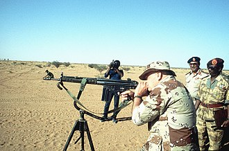 Desert Battle Dress Uniform - Desert Battle Dress Uniform wearing Lieutenant General Robert C. Kingston, commanding general, US Central Command, fires a German built 7.62 mm G3 Heckler and Koch rifle during BRIGHT STAR '82, an exercise involving troops from the US, Egypt, Sudan, Somalia and Oman.