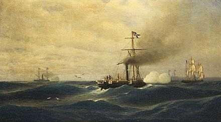 Painting of Meteor in battle with Bouvet, by Robert Parlow [de ] Robert Parlow, Meteor vs. Bouvet, 1892.jpg