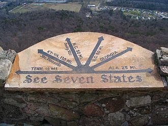 Lookout Mountain - The marker at the summit of Lookout Mountain claims seven states may be viewed from the site.