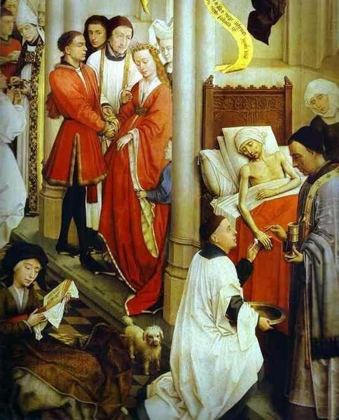 File:Rogier van der Weyden- Seven Sacraments Altarpiece - Ordination, Marriage, and Extreme Unction; detail, right wing.JPG