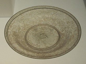 Glass casting - Roman cast-glass plate from the 3rd century, found in Cyprus.