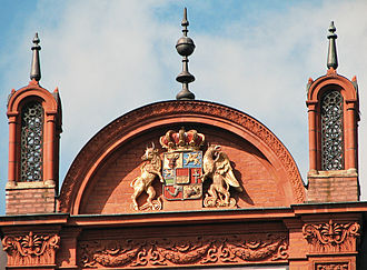 University of Rostock - Detail of the central building depicting the coat of arms of Mecklenburg-Schwerin