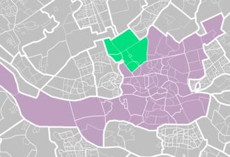 Overschie - Overschie (light green) within Rotterdam (purple).