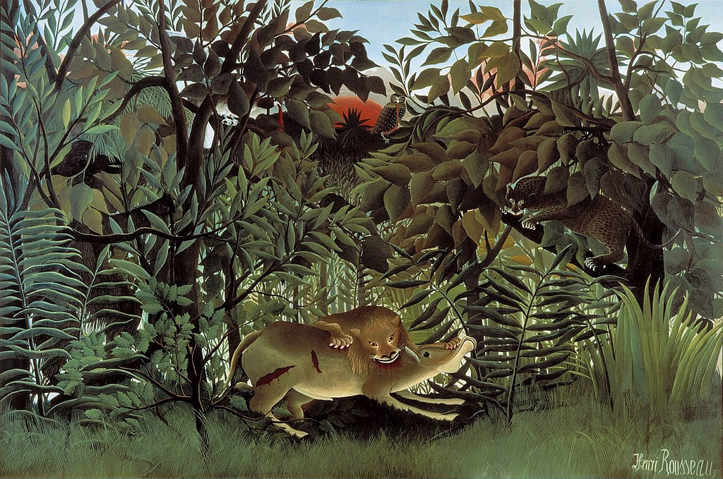 The Hungry Lion Throws Itself on the Antelope Henri Rousseau Fauvism