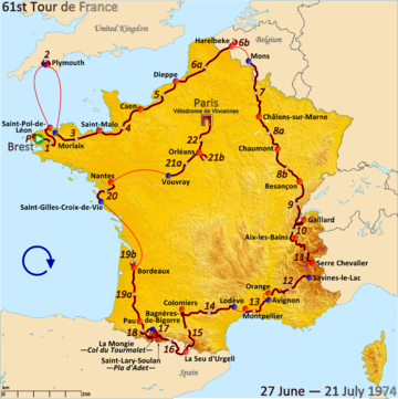 Map of France with the route of the 1974 Tour de France
