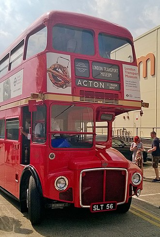 AEC Routemaster - RM1 at the London Transport Museum Depot in 2018; this vehicle was originally built with a different front end, before being fitted with the standard design in 1958.