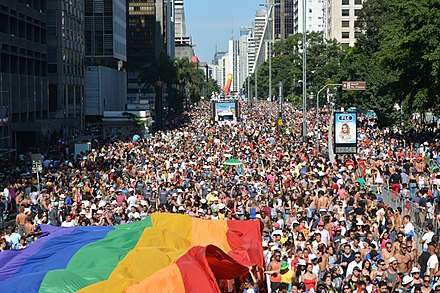 The 18th edition of the Sao Paulo Gay Pride Parade on 2014. Sao Paulo LGBT Pride Parade 2014 (14108541924).jpg