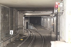Berlin Nord-Süd Tunnel - Tunnel just south of Potsdamer Platz station with the unused ramp for the Ringbahn branch connection