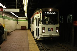 Route 11 trolley at 19th Street station