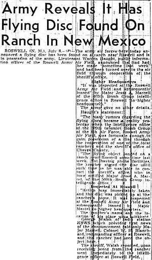Roswell UFO incident - The Sacramento Bee article detailing the RAAF statements