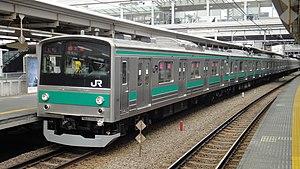 Rinkai Line - Image: Saikyo 205 series set 28 Osaki Station 20150419