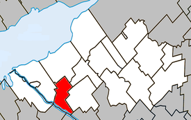 Location within Nicolet-Yamaska Regional County Municipality.