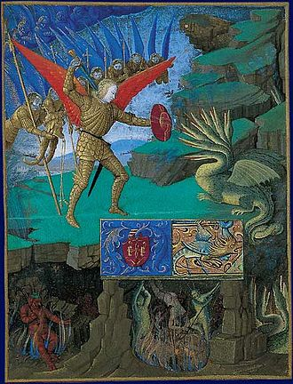 Prayer to Saint Michael - Saint Michael fighting the dragon (miniature from the Book of Hours of the Knight Étienne)