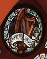 Saint Patrick Catholic Church (Columbus, Ohio) - stained glass, harp and Salve Regina.JPG