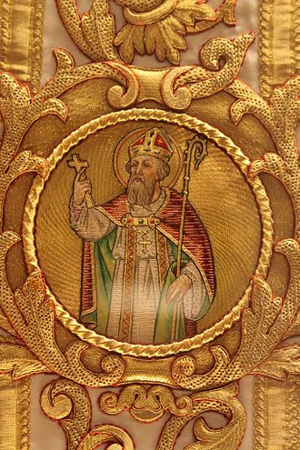 Rumbold of Mechelen - Saint Rumbold on a chasuble in the Basilica of Our Lady of Hanswijk, Mechelen