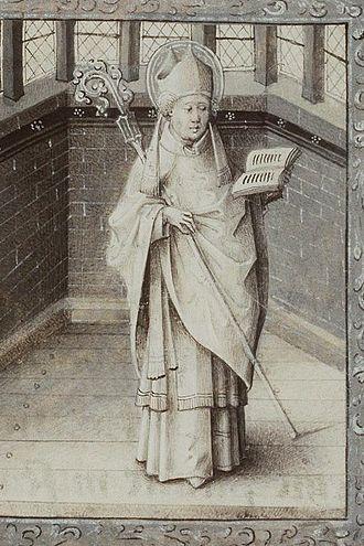 Germain of Paris - Saint Germain of Paris from a Book of Hours illuminated by Jean le Tavernier, c. 1450–1460.