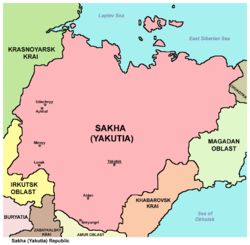 Yakutia - Wikipedia on yurga russia map, khabarovsk russia map, chita russia map, hawaii russia map, sakha russia map, vilnius russia map, volga river map, irkutsk russia map, elista russia map, tynda russia map, volsk russia map, tallinn russia map, markovo russia map, vladivostok russia map, siberia russia map, yerevan russia map, petropavlovsk-kamchatsky russia map, altai krai russia map, yakutia russia map, simferopol russia map,