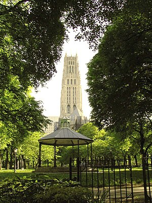 Sakura Park - Image: Sakura Park New York with Riverside Church