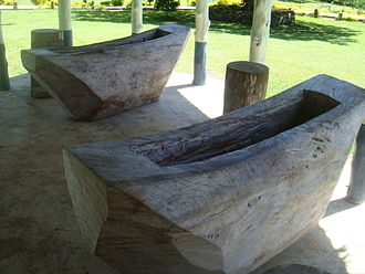 Music of Samoa - Samoan Talipalau log drums at Piula Theological College, distant ancestor of the Fijian Lali drums