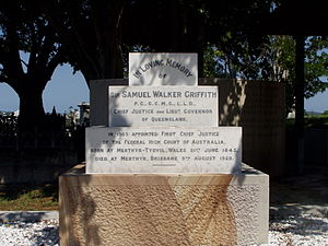 Samuel Griffith - Headstone of Sir Samuel Griffith at Brisbane's Toowong Cemetery.