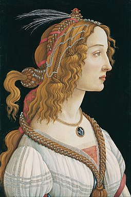 Portrait of a Young Woman (c. 1480-85) (Simonetta Vespucci) by Sandro Botticelli Sandro Botticelli - Idealized Portrait of a Lady (Portrait of Simonetta Vespucci as Nymph) - Google Art Project.jpg