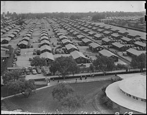 Arcadia, California - Santa Anita Assembly Center tarpaper barracks, at the Santa Anita Park racetrack.