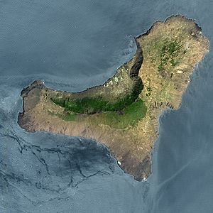 2011–12 El Hierro eruption - Satellite image of El Hierro. The village of La Restinga shows as the white area on the southern tip of the island; the October 2011 - March 2012 eruption took place in the sea ca. 2 km to the south of this.