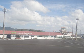 Santa Maria Airport (Azores) - A view of the terminal and tower from the tarmac of Santa Maria Airport