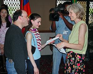 Sarah Lane - Seventeen-year-old Sarah Lane receiving prize money at USA IBC in 2002