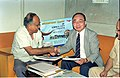 Saroj Ghose And Goto Executive Exchanging MOU Of Goto GSS-Helios And Astrovision-70 Projection System For Science City - NCSM - Calcutta 1995-06-15 249.JPG
