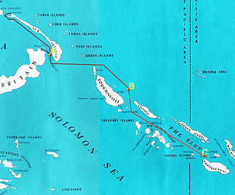 Battle of Savo Island -  Approach route of Mikawa's force from Rabaul and Kavieng (upper left), pausing off the east coast of Bougainville (center) and then traveling down The Slot to attack Allied naval forces off Guadalcanal and Tulagi (lower right)